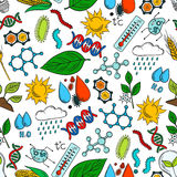Nature ecosystem symbols seamless background. Nature ecosystem and natural phenomena seamless background. Wallpaper with vector pattern icons of organic elements vector illustration