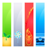 Nature element banners. 4 nature element (earth, wind, fire, water) banner or sider backgrounds. Base banner size is 120x600 Royalty Free Stock Images