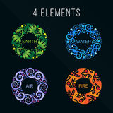 Nature 4 elements circle abstract sign. Water, Fire, Earth, Air. on dark background. Stock Images