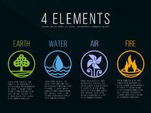 Nature 4 elements in circle border  line border abstract icon sign. Water, Fire, Earth, Air. on dark background. Royalty Free Stock Images