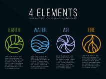 Nature 4 elements in circle icon abstract line border sign. Water, Fire, Earth, Air. on dark background. Royalty Free Stock Image