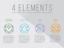 Nature 4 elements circle logo sign. Water, Fire, Earth, Air. Royalty Free Stock Photos