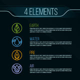 Nature 4 elements circle logo sign. Water, Fire, Earth, Air. on dark background. Royalty Free Stock Photography