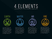Nature 4 elements circle logo sign. Water, Fire, Earth, Air. on dark background. Stock Photography