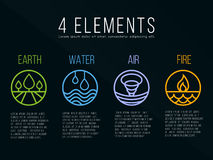 Nature 4 elements circle logo sign. Water, Fire, Earth, Air. on dark background. Stock Photos