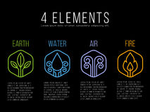 Nature 4 elements circle logo sign. Water, Fire, Earth, Air. on hexagon Royalty Free Stock Images
