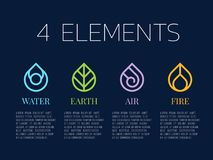 Nature 4 elements in Coil line border  abstract drop water icon sign. Water, Fire, Earth, wind. vector design Royalty Free Stock Images