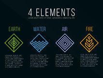 Nature 4 elements diamond square logo sign. Water, Fire, Earth, Air. on dark background. Royalty Free Stock Photos