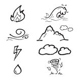 Nature elements draiwing icons set. Nature elements drawing icons doodle set Royalty Free Stock Image