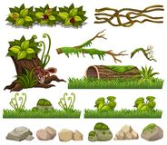 Nature elements with grass and rocks. Illustration vector illustration