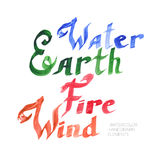 Nature elements lettering collection. Vector illustration of hand written nature forses an elements lettering inscriptions collection - water, earth, fire and Royalty Free Stock Image