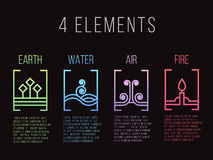 Nature 4 elements line border abstract gradient icon sign. Water, Fire, Earth, Air. on dark background. Royalty Free Stock Photos