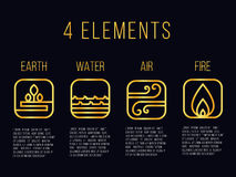 Nature 4 elements line gold abstract icon sign. Water, Fire, Earth, Air. on dark background. Stock Photography