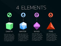 Nature 4 elements logo and crystal sign. Water, Fire, Earth, Air.  on dark background. Royalty Free Stock Image