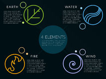 Nature 4 elements logo sign. Water, Fire, Earth, Air. on dark background. Stock Photography