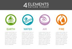 Nature 4 elements nature power with Circle line abstract style sign. Water, Fire, Earth, air. vector design royalty free illustration
