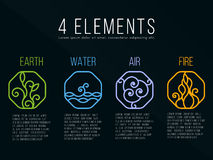 Nature 4 elements in Octagon  line border abstract icon sign. Water, Fire, Earth, Air. on dark background. Royalty Free Stock Photo
