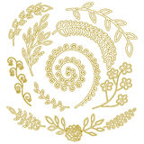 Nature elements pattern for rustic wedding invitation Hand drawn floral elements Wild garden herbs Stock Image