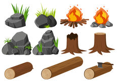 Nature elements with rocks and woods Royalty Free Stock Photo