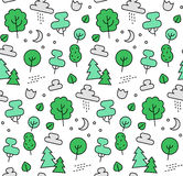 Nature elements seamless icons pattern Royalty Free Stock Images