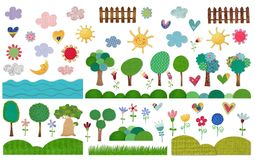 Nature elements set. Colorful graphic illustration for children Royalty Free Stock Photo