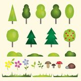 Nature elements set. Forest and garden flat symbols of the landscape: trees, fir-trees, spruce, bushes, grass, stones, flowers and. Mushrooms. Colorful vector Stock Images
