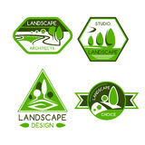 Nature emblem for landscaping services design. Nature emblem of green park and garden view with trees, plants, lawns and paths. Landscaping services, landscape Stock Images