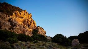 Nature en Sardaigne sur le coucher du soleil Image libre de droits