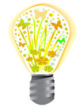 Nature energy. As symbol in bulb, butterfly and flowers Royalty Free Stock Images