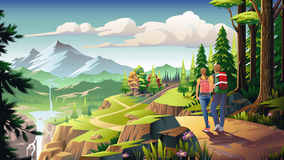 Nature Enthusiast. A couple do hiking in mountainous areas Royalty Free Stock Photo