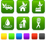 Nature Environment icons on square internet buttons Stock Photography