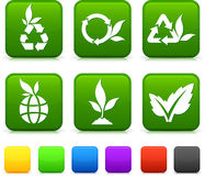 Nature Environment icons on square internet buttons Royalty Free Stock Images