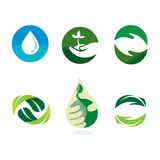 Nature Environment Logo. Nature environment in symbolic icons and bluish green nature color Royalty Free Stock Image