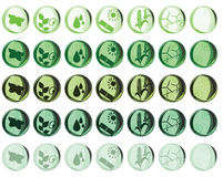 Nature and Environmental icons. In several color variations isolated on white Stock Photos