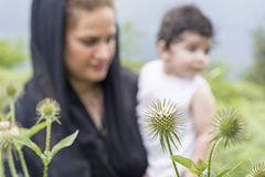 Nature exploration concept mother and young child in outdoor environment focus at foreground plants. Nature exploration concept, mother and young child in royalty free stock photo
