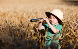 Nature explorer. Portrait of young nature explorer in wheat field stock image