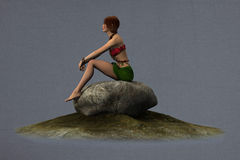 Nature fae sitting on a rock Stock Images