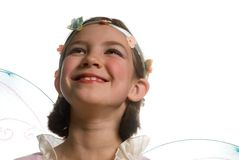 Nature Fairy. Young girl wearing fairy wings costume Stock Photos
