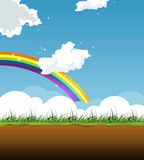 Nature fairy illustration. Sunny seasonal nature illustration. Situated cloudscape with rainbow and grass, and the little undeground view Royalty Free Stock Photos