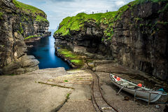 The nature of the Faroe Islands in the north Atlantic. Summer time at gjogv, Faroe islands, Denmark, Europe : One of the most iconic place in the Faroe islands Royalty Free Stock Photos