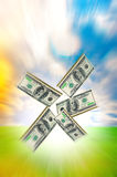 Nature field background with dollars Stock Photography