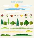 Nature flat icons Royalty Free Stock Image