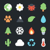 Nature Flat Icons Royalty Free Stock Photography