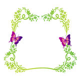 Nature floral frame with butterflies. Green nature decoration elements with flowers, leaves and butterflies, making a beautiful frame with blank space in the Stock Photography