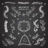 Nature floral vector doodle elements, vintage wedding branch wreaths on blackboard Stock Images