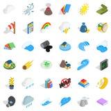 Nature force icons set, isometric style Royalty Free Stock Photo