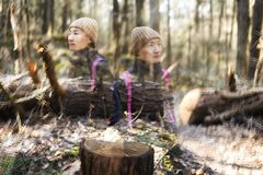 Nature forest chinese woman double exposure