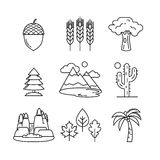 Nature and forest thin line art icons set. Modern black symbols isolated on white for infographics or web use Stock Photos