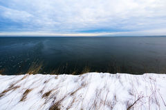 Nature forming Estonian flag. Coastal cliffs near Paldiski city in Estonia forming Estonian flag in the nature Royalty Free Stock Photos