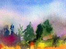Nature fraîche de pin d'arbres forestiers de ciel de paysage de fond d'abrégé sur art d'aquarelle la belle a donné à l'imaginatio Photos stock